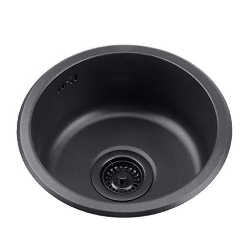 Lavandino Rotondo Nero Piscina per Ristrutturazione Cucina Lavandino Singolo Rotondo Lavandino Tondo Lavandino Tondo per Bagno Lavaggio di Verdure E Piscina per Piatti Vasca Singola