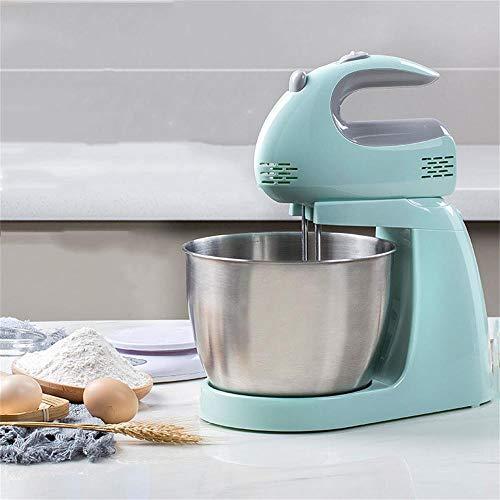 PUBJ Küchenmaschine 150W Mit 3L Edelstahl-Rühlschüssel, Rührbesen, Knethaken, Schlagbesen Und Spritzschutz,5 Geschwindigkeit Geräuschlos Teigmaschine, Blau