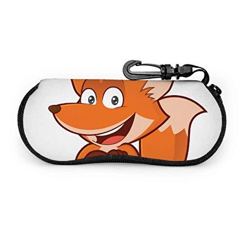 Gafas de sol Estuche blando para mujer Clver Smart Orange Fox Cute Animal Eyeglasses Fundas protectoras Estuche para gafas Soporte protector para gafas con clip para cinturón