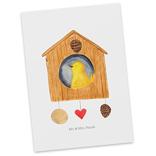 Mr. & Mrs. Panda uitnodiging, wenskaart, Ansichtkaart Vogelhuisje - Kleur Wit