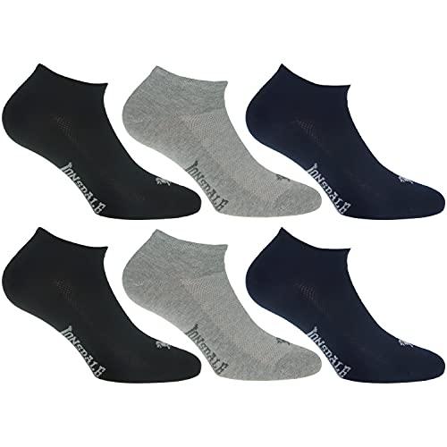 Lonsdale Invisible Fresh 6 Paar Sneakersocken, Baumwolle von ausgezeichneter Qualität mit Piquet-Herstellung (Blau, Schwarz, Melange Grau, 43-46)