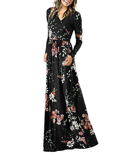 Auxo Damen Abendkleider Lange Blumen Kleid Langarm Maxikleider Cocktail Ballkleid Elegant Schwarz Medium