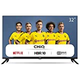 CHiQ Televisor Smart TV LED 32' HD, WiFi, Bluetooth (Solo Auriculares y Altavoces), Netflix, Prime Video, Youtube, Facebook, HDMI ARC, USB, L32H7N