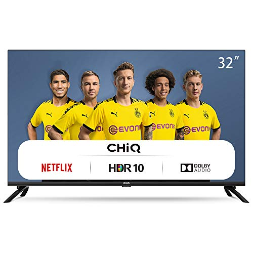 CHiQ Televisor Smart TV LED 32' HD, WiFi, Bluetooth (Solo Auriculares y Altavoces), Netflix, Prime Video, Youtube, Facebook, USB, L32H7N