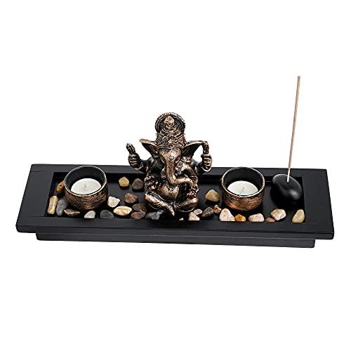 London Boutique Elephant Head Ganesha Ornament Statue Candle Holders Gift...