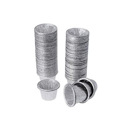Cabilock 100 Piezas Moldes para Tartas de Huevo Desechables para Hornear Latas para Tartas de Huevo Tazas de Aluminio para Tartas Y Galletas Moldes para Magdalenas Forros de Papel de