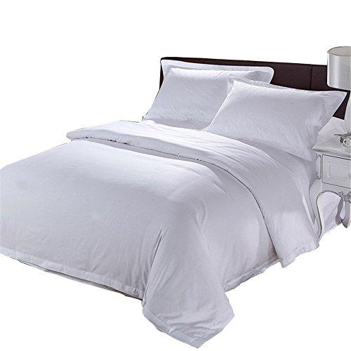 uxiefil Bedding Parure de lit en satin avec housse de couette pour lit double en textile blanc