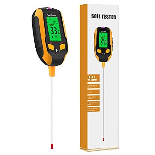 Esimen Upgraded 4-in-1 Soil PH Meter, Soil Tester Moisture with Light/PH/Temperatur, Digital Plant Thermometer Test, Moisture Meter Light for Gardening, Farming, Indoor and Outdoor Plants (S1)