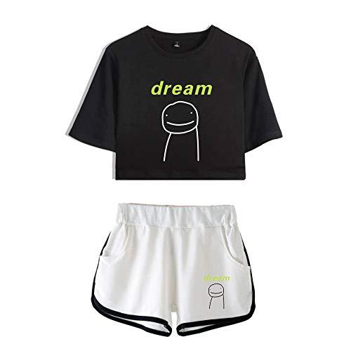 JHDESSLY Crop Tops de dos piezas conjunto de camiseta de manga corta y pantalones cortos traje de moda chica conjunto sexy Crop Top Tee ⭐