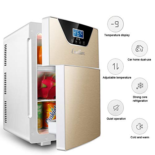 LHY Getränkekühler - Minibar, Doppeltür DREI-Kern-Kühl- Und Heizsystem Kühlschrank, -9-65°C, Nur 30 Db, 20 L, Umweltfreundlich [Energieklasse A+],Gold