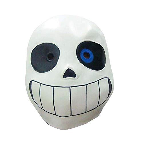 Máscara Sans, Halloween Látex Sans Máscara en forma de calavera con ojos azules/negros Disfraz de disfraces Cosplay Casco de calavera Accesorio de disfraz