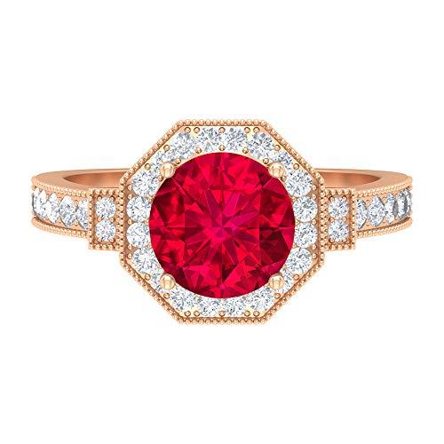 Rosec Jewels 14 quilates oro rosa redonda Red Ruby Diamond