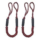 Jranter Cuerda elástica de amarre para líneas de muelle de choque para embarcaciones, color azul, 1,1 m, rojo y negro, paquete de 2