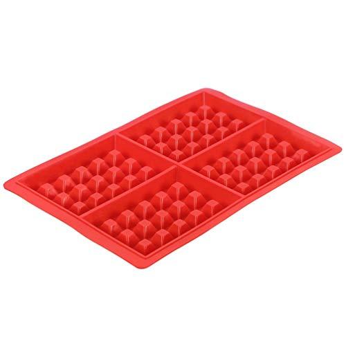 DIY Waffle Molde para gofres Modelo Antiadherente Cocina Accesorios para Hacer Pasteles Herramienta para Hornear en Caliente Molde para gofres de 4 Cuadrados en Forma de corazón (Red4-Square)