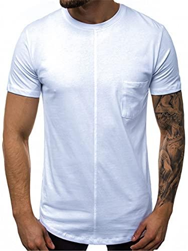 Streetwear Hombres Verano Cuello Redondo Slim Fit Hombres T-Shirt Básica Personalidad Color Contraste Cordones Manga Corta Hombres Shirt Estilo Hip Hop Hombres Ocio Shirt