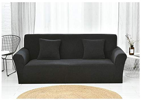 Funda Sofa Elastica Protector Adaptable,Knitted Check Stretch Sofa Cover, Full Cover Non-Slip Cushion Cover, Home Anti-fouling Protective Cover-Mysterious Black_190-230cm