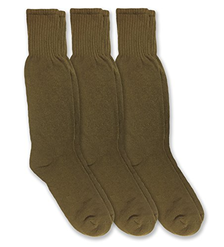 Jefferies Socks Military Combat Uniform Rib Crew Boot Socks 3 Pair Pack (Sock: 10-13/Shoe: 9-12, Coyote Brown)
