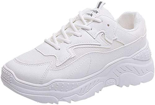 Femmes Minceur Chaussures De Sport Running Jogging Marche Baskets Plate-Forme Chaussure à Lacets éTé Femme Pas Cher Soldes Respirant Confort Sneakers (38 EU, Blanche)