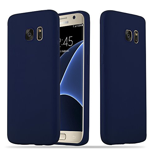 Cadorabo Hülle für Samsung Galaxy S7 - Hülle in Candy DUNKEL BLAU – Handyhülle Schutzhülle aus TPU Silikon im Candy Design - Ultra Slim Soft Back Cover Case Bumper
