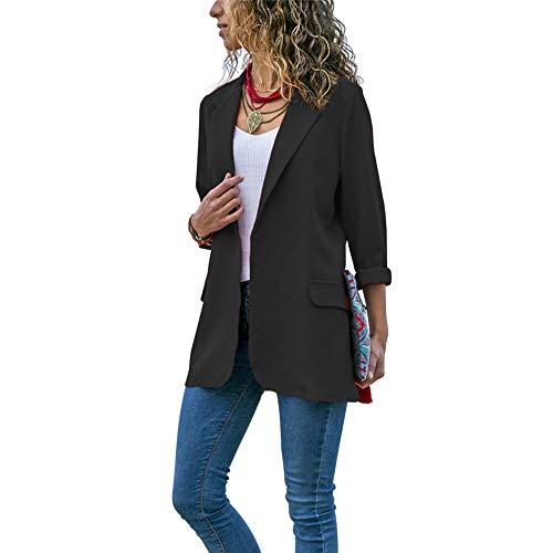 Blazer para mujer, casual, primavera otoñal, manga larga, cuello ajustado, casual, color sólido negro negro XL