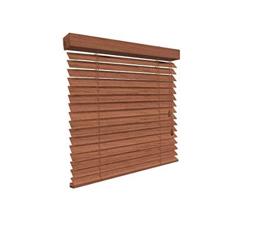 SUNLUX24 Holzjalousien 50mm auf Maß braun (JH080) / Breite 70,1 bis 80 cm x Höhe 170,1 bis 180