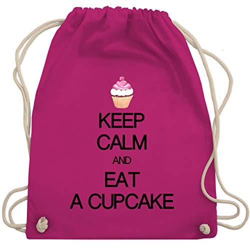 Shirtracer Keep calm - Keep calm and eat a cupcake - Unisize - Fuchsia - Typo-Grafie - WM110 - Turnbeutel und Stoffbeutel aus Bio-Baumwolle