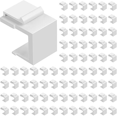 80 Pieces Blank Keystone Jack Inserts for Keystone Wallplate Blank Insert for Wall Plate (White)