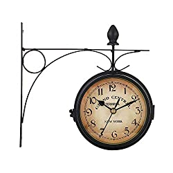 AWJ Retro Double Sided Wall Clock, Paddington Station Wall Clock, Metal Frame and Waterproof Cover for Indoor and Outdoor Home Garden and Mans Birthday Gift