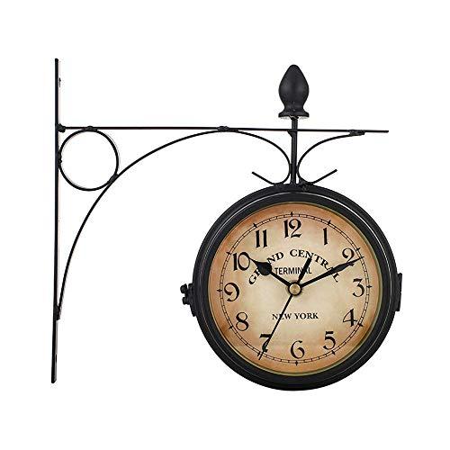 Powstro - Reloj de pared de doble cara para jardín, diseño vintage de Paddington