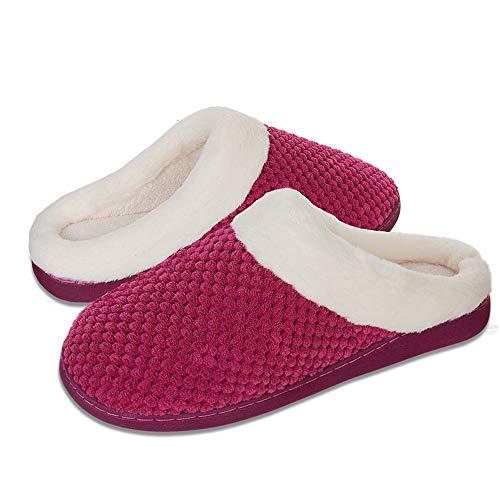 IceUnicorn Winter Hausschuhe Damen Memory Foam Plüsch Wärme Home rutschfeste Slippers wollähnliche für Drinnen und Draußen(Rose, 38/39EU)