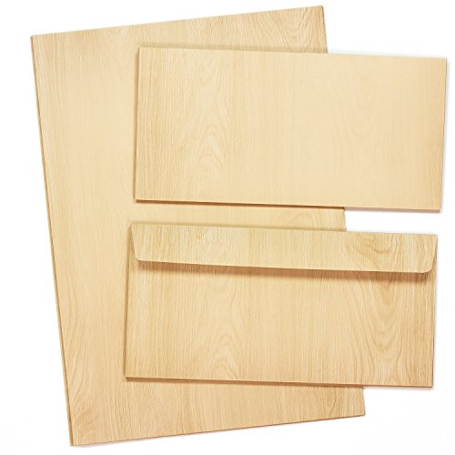 TATMOTIVE Briefpapier Set MADEIRA Holz-Optik 10 Sets beidseitig 90 G/QM DIN A4 Holzmaserung Holzmuster