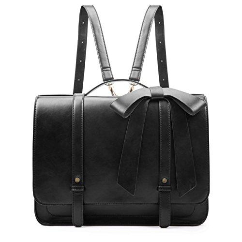 ECOSUSI Aktentasche Damen Umhängetasche Laptoptasche 14 Zoll Laptop Rucksack Damen Vintage Schultertasche Damen Handtasche Schwarz