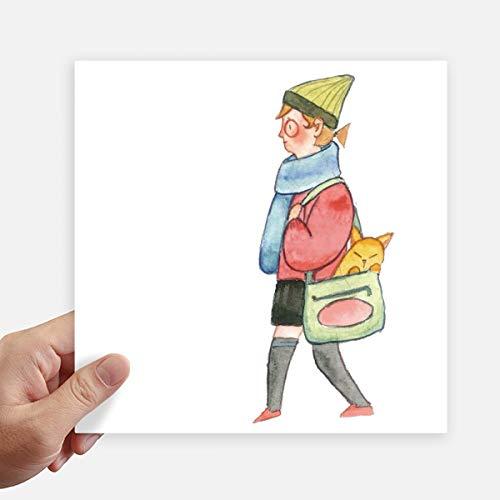 DIYthinker Miaoji Schilderij Kat Winkelen Meisje Vierkante Stickers 20Cm Muur Koffer Laptop Motobike Decal 4 Stks