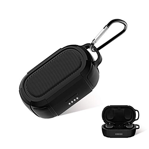TOLUOHU Case for Bose QuietComfort Earbuds Silicone Case Cover[Detchable Keychain&LED Visible] Anti-Lost/Shockproof/Scratchproof Protect Skins Cover Case for Bose QuietComfort Earphones (Black)