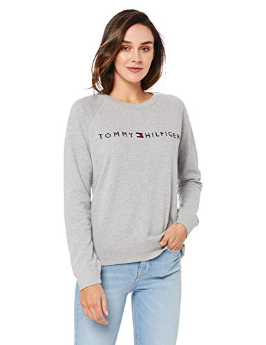 Tommy Hilfiger Logo Track Top Capa de Base, Gris, S Mujer
