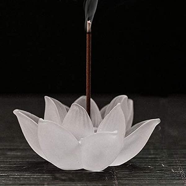 PHILOHOME Glaze Lotus Incense Stick Burner Transparent Crystal Incense Holder 2 752 750 78inch White