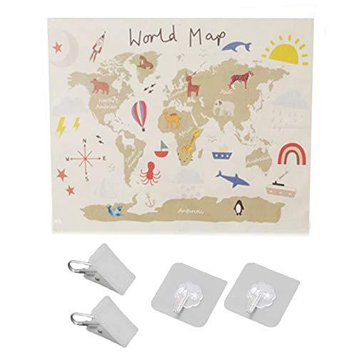 OKwife nórdico Educativo niños habitación Mapa del Mundo Arte Lienzo Pintura Colgante de Pared Imagen