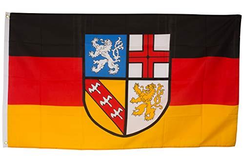 SCAMODA Bundes- und Länderflagge aus wetterfestem Material mit Metallösen (Saarland) 150x90cm