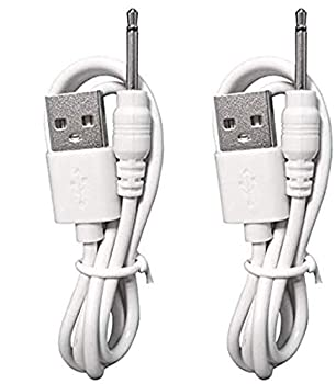 oGoDeal Replacement USB to DC Charging Cable | USB Charger Cord - 2.5mm - Original Replacement  2 Pack White