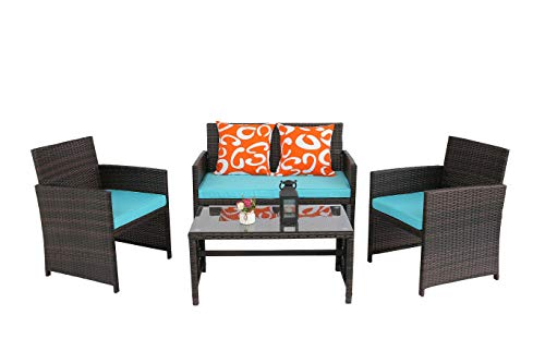 Furnivilla Outdoor Patio Furniture Sets 4 Pieces Rattan Chair Wicker Set with CoffeeTable and Cushion Outdoor Indoor Use Backyard Porch Garden Poolside Balcony Furniture Sets (Turquoise)