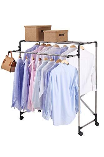 NEUN WELTEN Kleiderständer mit Rollen, verstellbar, große Kapazität, für den Innenbereich, Länge bis zu 1,2 m, aus Edelstahl (schwarz, 2 Etagen)
