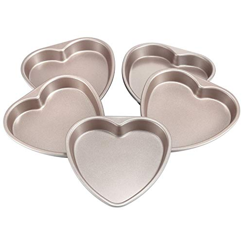 CHEFMADE Layers Cake Pan Set, 6-inch 5Pcs Non-Stick Heart-Shaped Rainbow Cake Bakeware for Oven Baking (Champagne Gold)