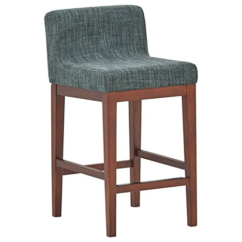 Rivet Mid-Century Modern Upholstered Low Back Kitchen Counter Height Stool, 37'H, Blue