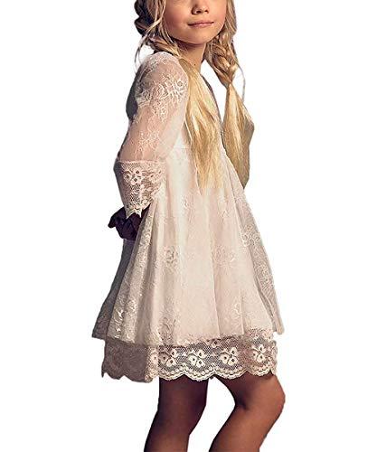 CDE Boho Trompetenärmel Kurze Kinder Spitzenkleid/Chic A-Linie Kommunionkleider Brautjungfern Kleider Blumenmädchenkleider für Mädchen 2-12 Jahre (Elfenbein, Größe 10)