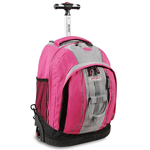 J World New York Twinkle Light Up Wheel Rolling Backpack, Pink, One Size