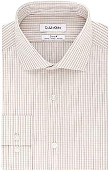 Calvin Klein Steel Stretch Non Iron Slim Fit Check Print Dress Shirt