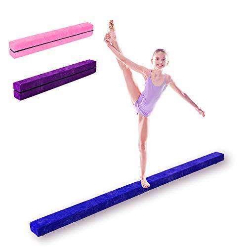 DREAMADE Schwebebalken Kinder, Schwebebalken klappbar, Balance Balken Turnen, Gymnastikbalken Übungsbalken, Schwebebalken für Turnen Kinder, Holz, 210 x 10 x 6.5cm (Blau)