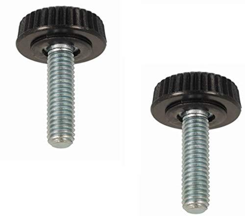 2x Rändelschrauben Möbelfüße mit Gewindebolzen M4 M5 M6 Kunststoff Stahl Schraube Möbel (M4x10)