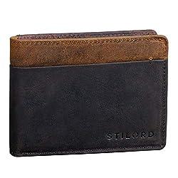 STILORD 'Sterling' RFID Geldbeutel Herren Leder Portemonnaie Männer Brieftasche Vintage Geldbörse mit NFC Ausleseschutz in Geschenkbox zweifarbig, Farbe:dunkel - braun