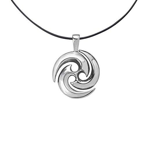 Hamilton and Young Halskette mit Anhänger keltische Triskele Tri-Spiralen Kreis Schwarz Leder 40,6 cm
